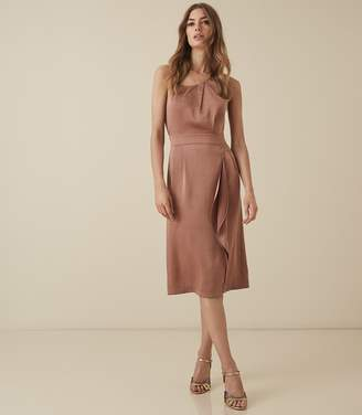 Reiss SARA ONE SHOULDER COCKTAIL DRESS Bronze