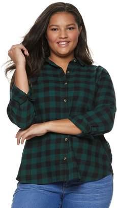 So Juniors' Plus Size SO Button-Front Flannel Shirt