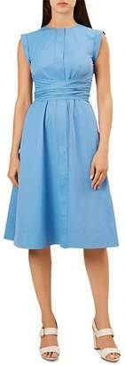 Hobbs London Eloise Sleeveless Ruched-Waist Dress
