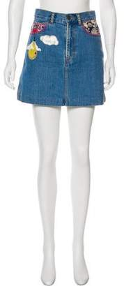 Marc Jacobs Patched Denim Skirt