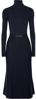 Gabriela Hearst Betty Open-Back Belted Wool-Blend Midi Dress