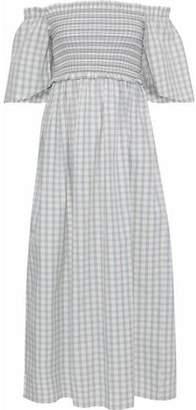 Ganni Maryville Off-The-Shoulder Gingham Cotton-Poplin Midi Dress