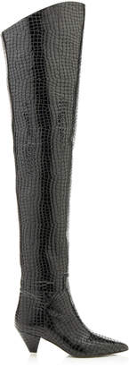 ATTICO Patent Faux Crocodile Over-The-Knee Boots