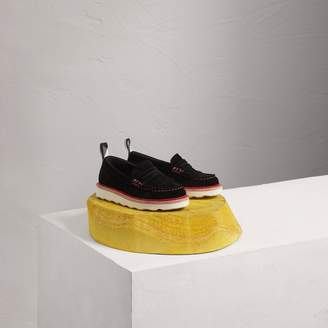 Burberry Two-tone Suede Penny Loafers