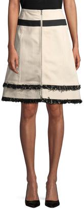 Derek Lam 10 Crosby Derek Lam Fringe Denim Skirt