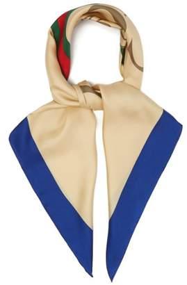 Gucci Logo Print Silk Twill Scarf - Womens - Blue