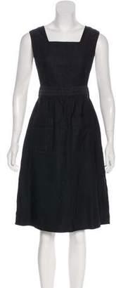 Black Fleece Silk Midi Dress