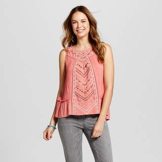 Knox Rose Women's Embroidered Ruffle Hem Tank - Knox Rose Coral $22.99 thestylecure.com