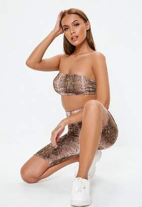 Missguided Petite Nude Snake Print Co Ord Bandeau