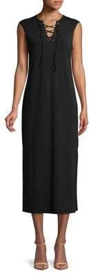 C&C California Lace-Up Sleeveless Midi Dress