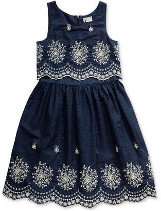 Sweet Heart Rose Cotton Eyelet & Denim Popover Dress, Big Girls (7-16) $56 thestylecure.com
