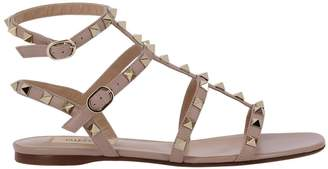 Valentino Flat Sandals Rockstud Low Sandals In Smooth Leather With Micro Metal Studs