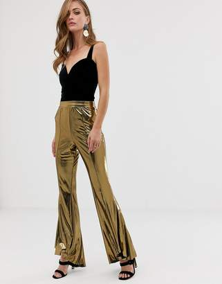 Asos Design DESIGN gold foil extreme ruffle flare pants