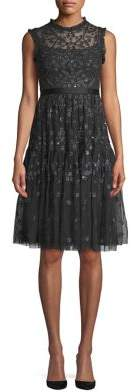 Needle & Thread Embroidered Mesh Fit--Flare Dress