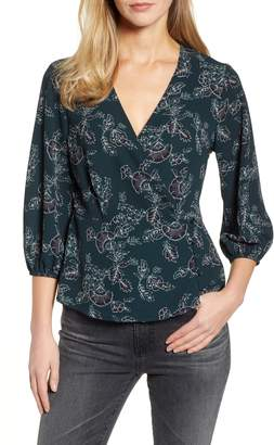 Bobeau Side Button Wrap Blouse