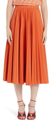 Fendi Pleated Jersey Midi Skirt