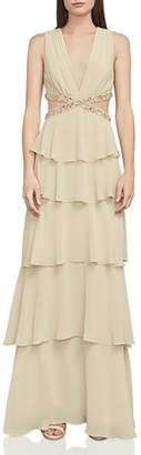 BCBGMAXAZRIA Thassia Embellished Tiered Cutout Gown