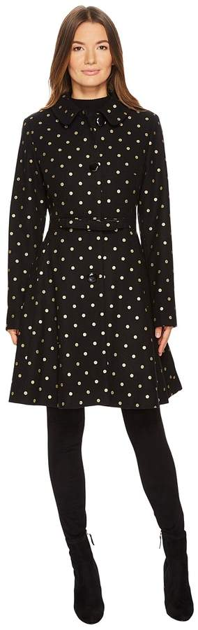 Kate Spade New York - Wool Novelties Glitter Polka Dot Peacoat Women's Coat