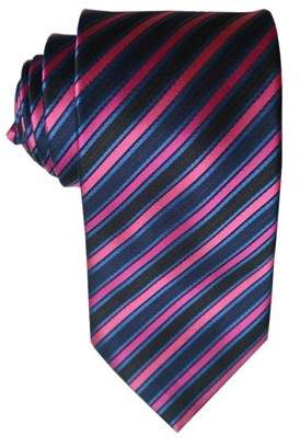 James Cavolini Italy Regal Striped Blue, Black and Pink Neck Tie