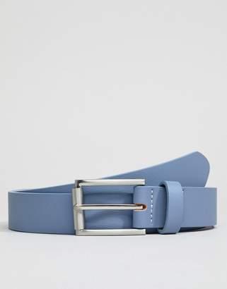 Asos DESIGN Wedding faux leather slim belt in light blue