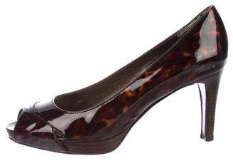 Stuart Weitzman Patent Leather Peep-Toe Pumps