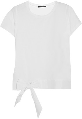 J.Crew - Poplin-trimmed Cotton-jersey T-shirt - White $40 thestylecure.com