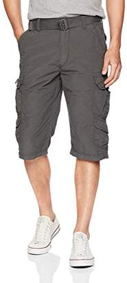 UNIONBAY Men's Cotton Nylon Belted Messenger Length Cargo Short