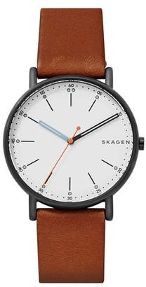 Skagen Signatur Leather Strap Watch, 40mm