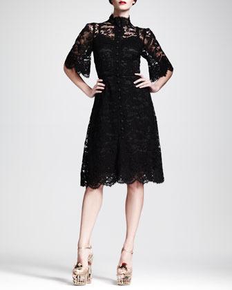 Dolce & Gabbana Flutter-Sleeve Button-Front Lace Dress