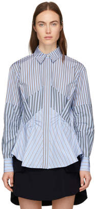 Carven Blue Stripe Mix Shirt
