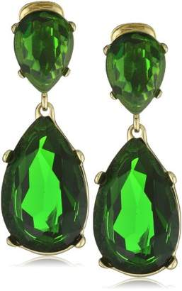 Kenneth Jay Lane Emerald -Color Teardrop Earrings