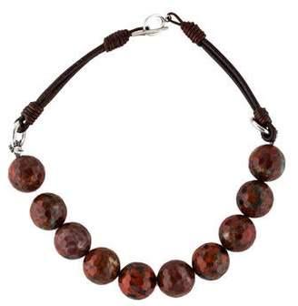 Brunello Cucinelli Jasper & Leather Bead Strand Necklace