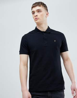 Farah Blaney Pique Polo Slim Fit in Black