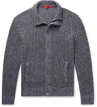 Isaia Slim-Fit Ribbed Mélange Cotton Zip-Up Cardigan