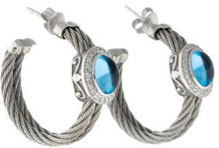 CharriolCharriol ALOR Blue Topaz & Diamond Cable Hoop Earrings