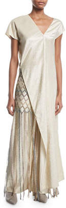 Rosetta Getty V-Neck Short-Sleeve Side-Slit Metallic-Twill Long Tunic