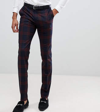 Twisted Tailor super skinny suit pants in burgundy check