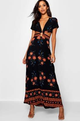 boohoo Cut Out Border Print Floral Maxi Dress