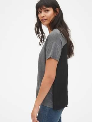 Gap Mix-Fabric Short Sleeve V-Neck Top