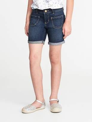 Old Navy Braided-Pocket Denim Midi Shorts for Girls