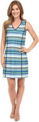 Adrianna Papell Print V-Neck Sleeveless Shift Dress Women's Dress
