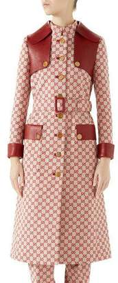 Gucci Button-Front GG Canvas Trench Coat w/ Leather Details