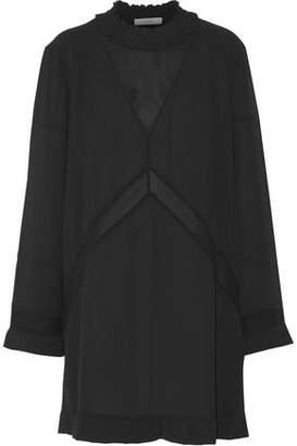 IRO Lowska Chiffon-Paneled Ruffled Cloqué Mini Dress