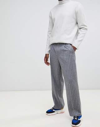 Asos volume smart pants in 100% wool textured stripe