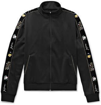 KAPITAL Embroidered Velvet-Trimmed Tech-Jersey Track Jacket