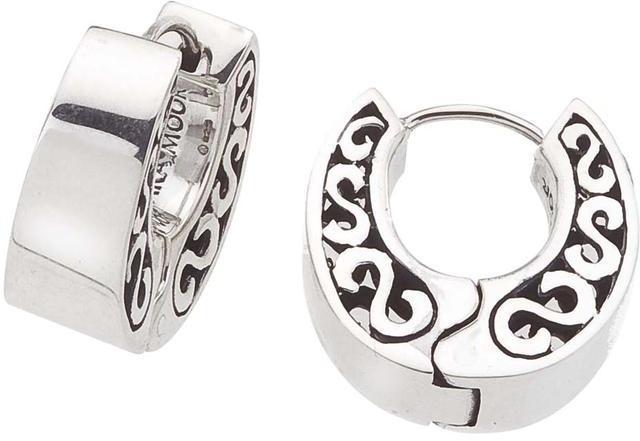 Sterling Silver Chubby Swirl Designed Huggie Earrings by Ax Jewelry