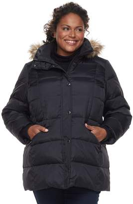 London Fog Tower By Plus Size TOWER by Hooded Faux-Fur Trim Puffer Jacket