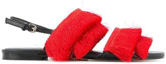 Mara & Mine layered fringe sandals