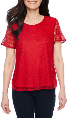 Liz Claiborne Elbow Sleeve Round Neck Chiffon Embroidered Floral Blouse-Petite