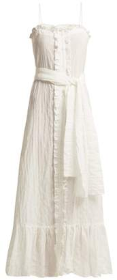 Lisa Marie Fernandez Ruffle Trimmed Seersucker Dress - Womens - White Stripe